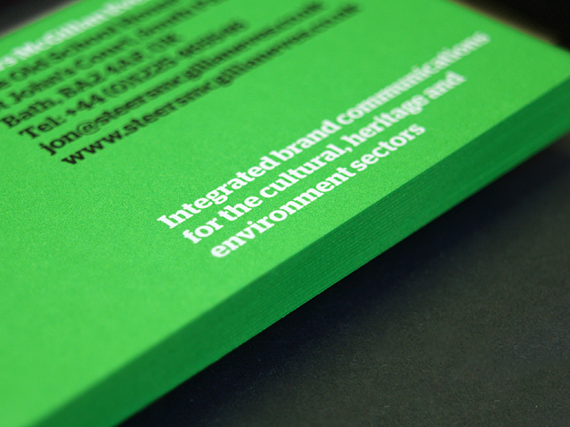 Fluorescent Green Edge Painted business card