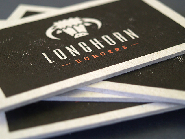 Letterpress business card longhorn